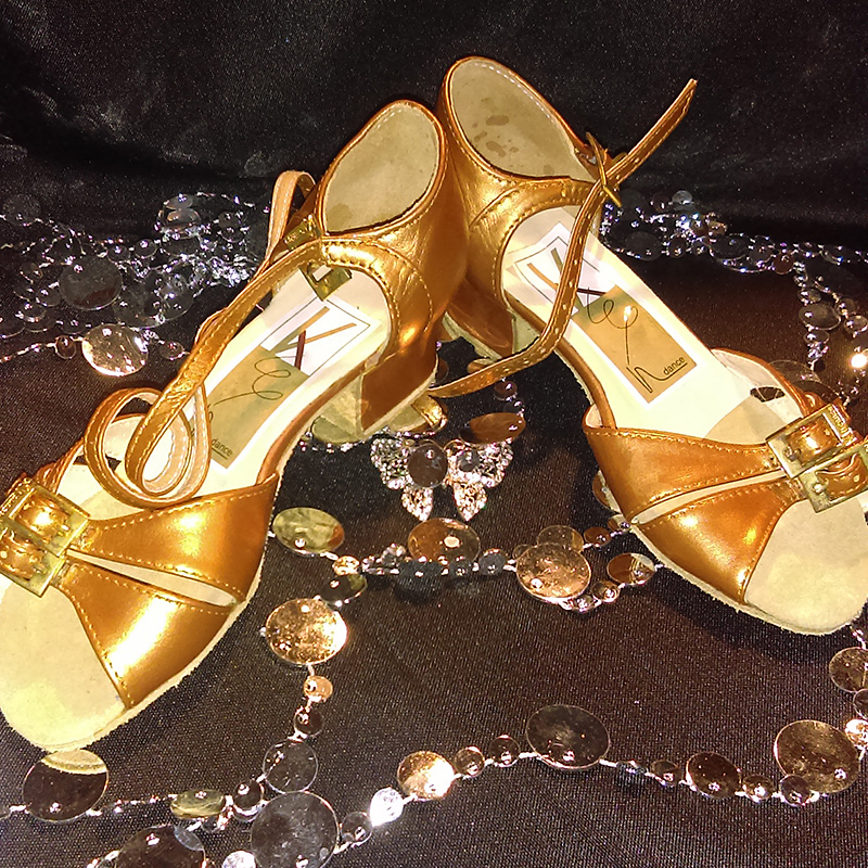 Children's Gold Leather Dance Shoes