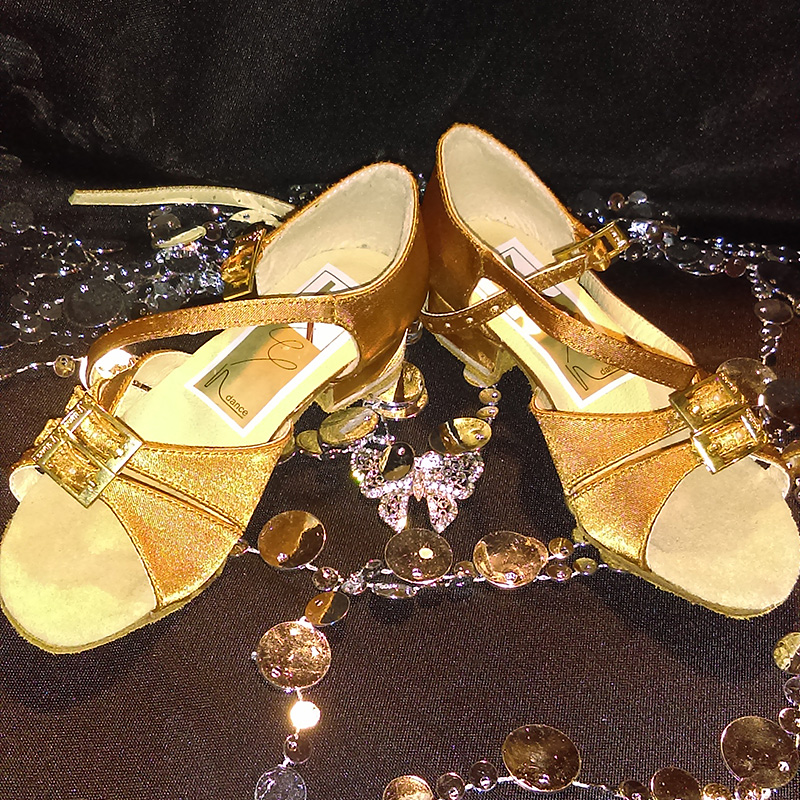 Childrens Gold Satin Dance Shoes
