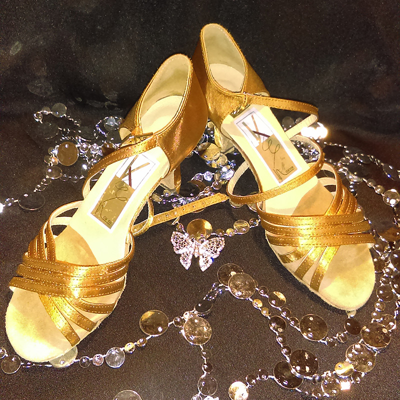 Gold Dance Shoes with Cross Strap