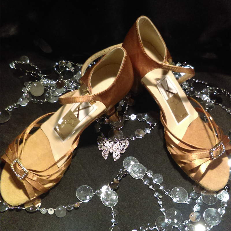 Gold Dance Shoes with Rhinestones