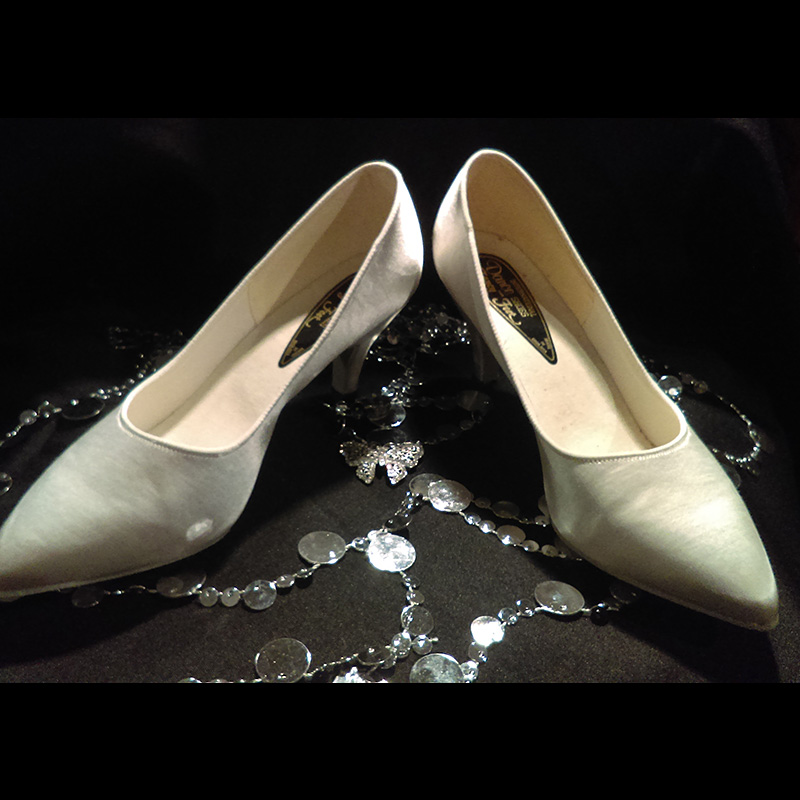 Standard White Satin Dance Shoes