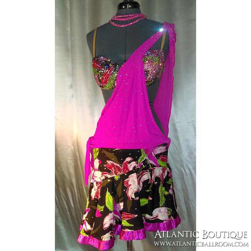 Hot Pink Latin Dress Size 4-6