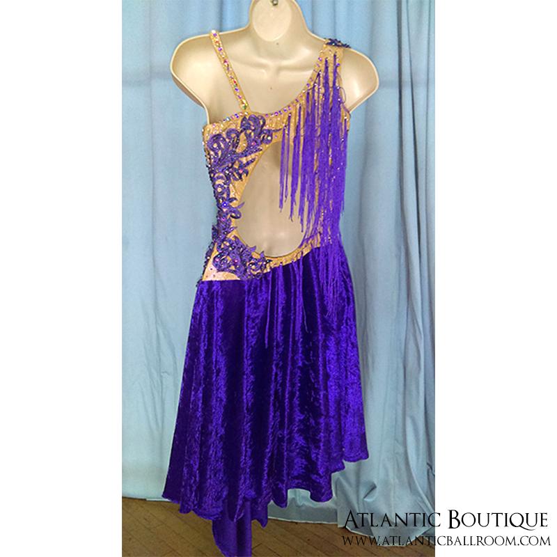 Purple Latin Dress with Lace & Fringe